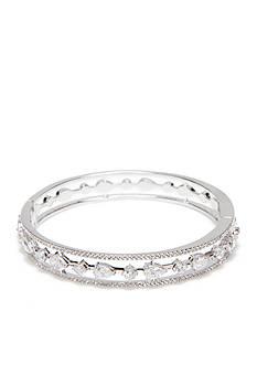 Nadri Silver-Tone Cubiz Zirconia Bangle Bracelet