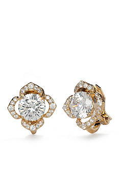Nadri Gold-Tone Cubic Zirconia Flower Clip Earrings