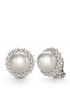 Nadri Silver-Tone Cubic Zirconia and Pearl Button Clip Earrings