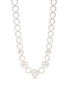 Nadri Silver-Tone Rosaline Pearl Collar Necklace