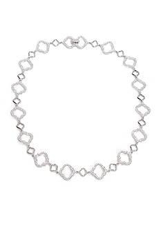 Nadri Silver-Tone Cubic Zirconia Mandala Collar Necklace
