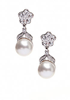 Nadri Pearl in Flower Drop Earrings