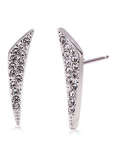 Nadri Silver-Tone East-West Pave Stud Earrings