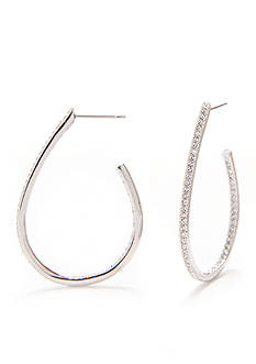 Nadri Silver-Tone Pave Teardrop Hoop Earrings