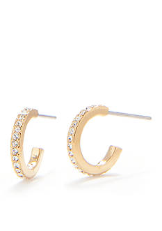 Nadri Crystal Pave Small Hoop Gold-Tone Earring