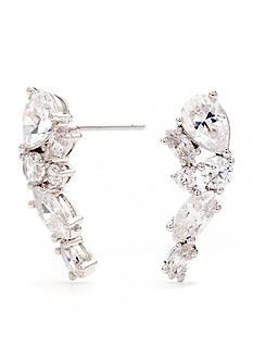 Nadri Silver-Tone CZ East West Stud Earrings