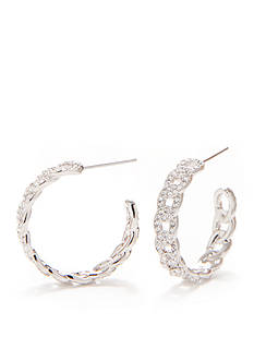 Nadri Silver-Tone Small Pave Link Hoop Earrings