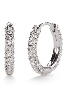 Nadri Silver-Tone Pave Huggie Earrings