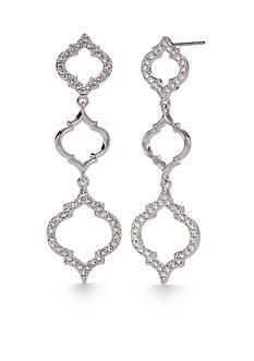 Nadri Silver-Tone Mandala Triple Drop Earrings