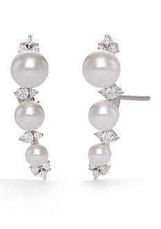 Nadri Silver-Tone Fiona Pearl Stud Earrings