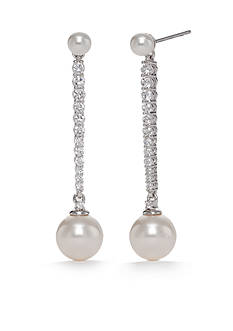 Nadri Silver-Tone Fiona Pearl Linear Earrings