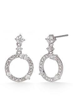 Nadri Silver-Tone Circle Drop Earrings