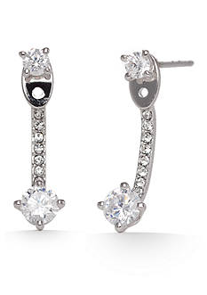 Nadri Silver-Tone Cubic Zirconia Front and Back Earrings