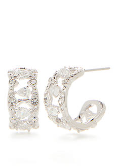 Nadri Silver-Tone Victorian Lace Small Hoop Earrings