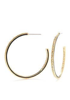 Nadri Gold-Tone Mod Epoxy Hoop Earrings