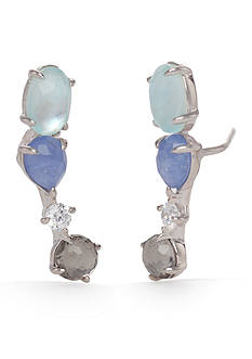 Nadri Sterling Silver Jeweled Stud Earrings