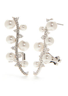Nadri Silver-Tone Isolde Pearl East West Stud Earrings