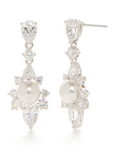 Nadri Silver-Tone Isolde Pearl Drop Earrings