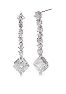 Nadri Silver-Tone Cubic Zirconia Linear Earrings