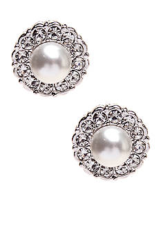 Nadri Small Pearl Framed Stud Earrings