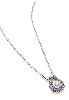 Nadri Pearl Pendant with Pave Horseshoe