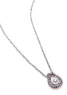 Nadri Pearl Pave Horseshoe Pendant Necklace