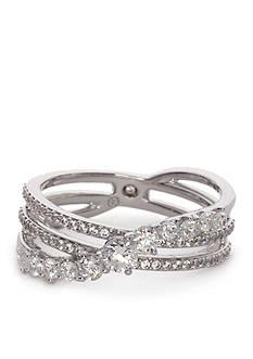Nadri Silver-Tone Large Cubic Zirconia Flow Ring