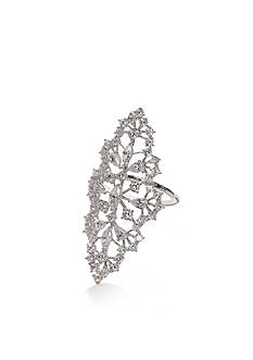 Nadri Silver-Tone Tourbillion Cubic Zirconia Ring