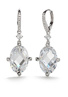 Nadri Silver-Tone Large Cubic Zirconia Lever Back Drop Earrings