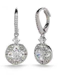 Nadri Silver-Tone Cubic Zirconia Link Lever Back Drop Earrings
