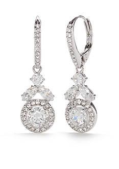 Nadri Silver-Tone Round Vine Framed Drop Earrings