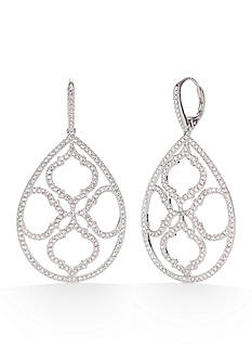 Nadri Silver-Tone Mandala Large Teardrop Earrings