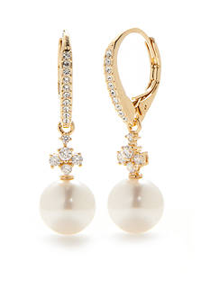 Nadri Gold-Tone Fiona Cubic Zirconia Pearl Drop Earrings
