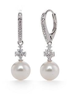 Nadri Silver-Tone Fiona Pearl Drop Earrings