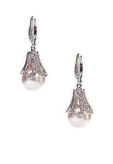 Nadri Pearl Drop Earrings in Pave Detail