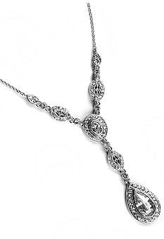 Nadri Crystal & CZ Framed Pear and Marquis Y Necklace