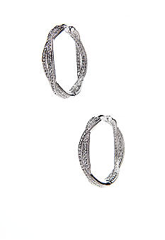 Intertwined Inside/Outside Pave Hoop