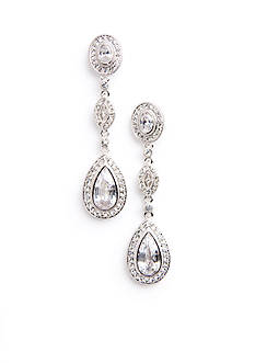 Nadri Crystal & CZ Framed Pear and Marquis Earrings