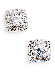 Nadri Crystal and CZ Square Framed Stud Earring
