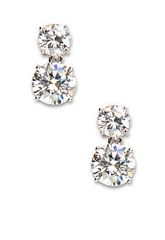 Nadri Double Round Cubic Zirconia Drop Earrings