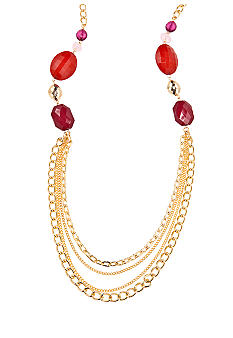 New Directions® Gold Red Multi Chain Necklace