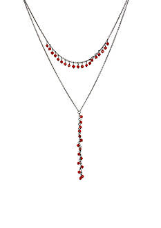 New Directions Hematite-Tone Shaky Red Faceted Bead Layered Y-Shaped Necklace