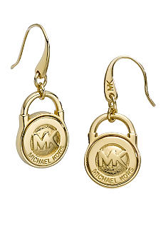 Michael Kors Jewelry Gold Tone Logo Earrings