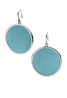 Michael Kors Jewelry Silver Turquoise Slice Drop Earrings