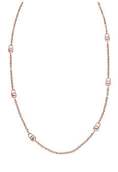 Michael Kors Jewelry Rose Gold Padlock Station Necklace