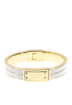 Michael Kors Jewelry Gold and White Hinge Bangle