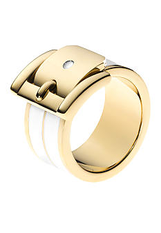 Gold and White Buckle Ring