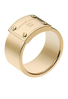 Michael Kors Jewelry Gold Logo Plate Ring