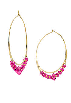 Michael Kors Jewelry Gold and Pink Whisper Hoop Earrings