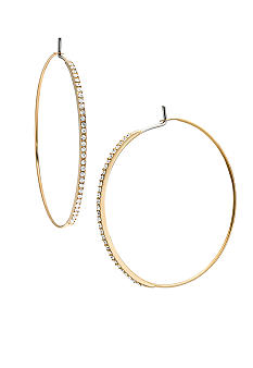 Michael Kors Jewelry Gold Pave Medium Whisper Hoop Earrings